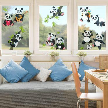 Fensterfolie Fenstersticker - Pandabären Mega Set