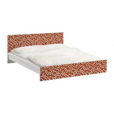 Möbelfolie für IKEA Malm Bett niedrig 180x200cm - Klebefolie Aborigine Punktmuster Braun
