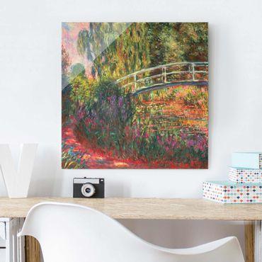 Glasbild - Claude Monet - Japanische Brücke im Garten von Giverny - Quadrat 1:1