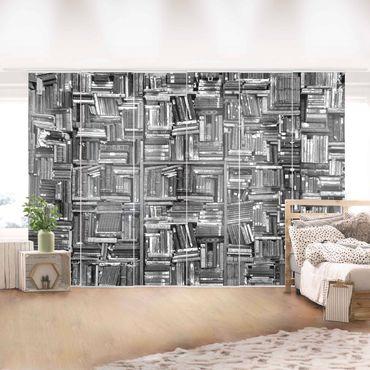 Schiebegardinen Set - Shabby Bücherwand schwarz weiß - Flächenvorhänge