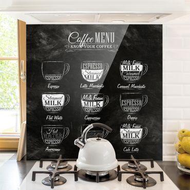 Glas Spritzschutz - Kaffeesorten Kreidetafel - Quadrat - 1:1