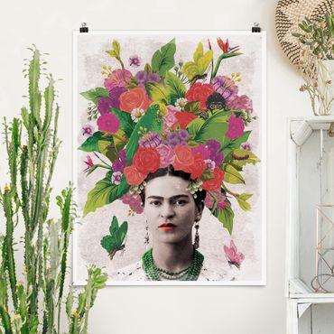 Poster - Frida Kahlo - Blumenportrait - Hochformat 3:4