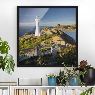 Bild mit Rahmen - Castle Point Leuchtturm Neuseeland - Quadrat 1:1