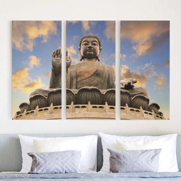 Leinwandbild 3-teilig - Großer Buddha - Hoch 1:2