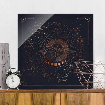 Glasbild - Astrologie Sonne Mond und Sterne Blau Gold - Quadrat 1:1