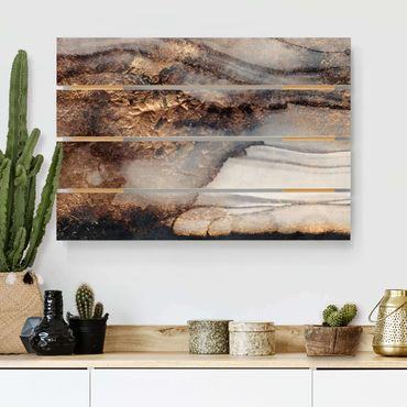 Holzbild - Elisabeth Fredriksson - Goldener Marmor gemalt - Querformat 2:3