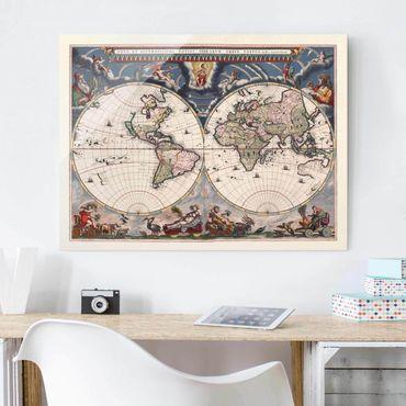 Glasbild - Historische Weltkarte Nova et Accuratissima von 1664 - Querformat 3:4
