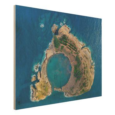 Holzbild - Luftbild - Die Insel Vila Franca do Campo - Querformat 3:4