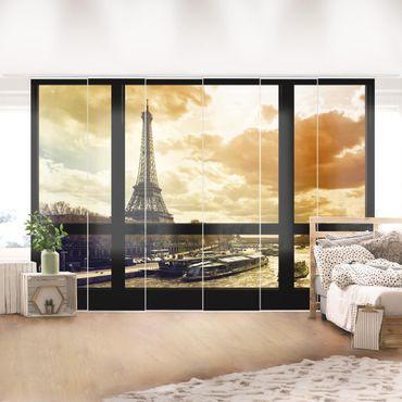 Schiebegardinen Set - Fensterblick - Paris Eiffelturm Sonnenuntergang - Flächenvorhänge