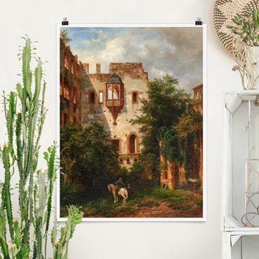 Poster - Carl Ludwig Fahrbach - Im Hof des Heidelberger Schlosses - Hochformat 3:4