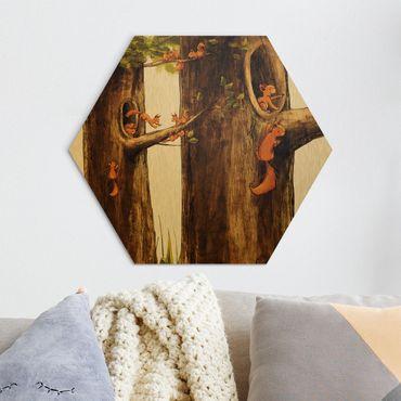 Hexagon Bild Alu-Dibond - Zuhause der Einhörnchen