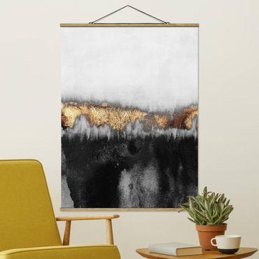 Stoffbild mit Posterleisten - Elisabeth Fredriksson - Goldspuren in Aquarell - Hochformat 4:3
