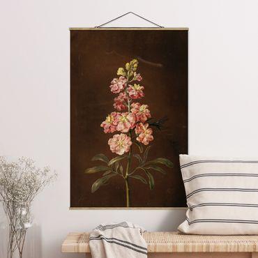 Stoffbild mit Posterleisten - Barbara Regina Dietzsch - Eine rosa Garten-Levkkoje - Hochformat 3:2