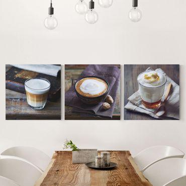 Leinwandbild 3-teilig - Caffè Latte - Quadrate 1:1