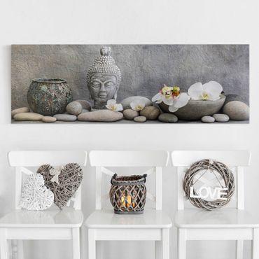 Leinwandbild - Zen Buddha mit weißen Orchideen - Panorama 1:3
