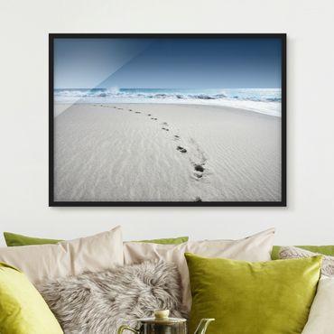 Bild mit Rahmen - Spuren im Sand - Querformat 3:4