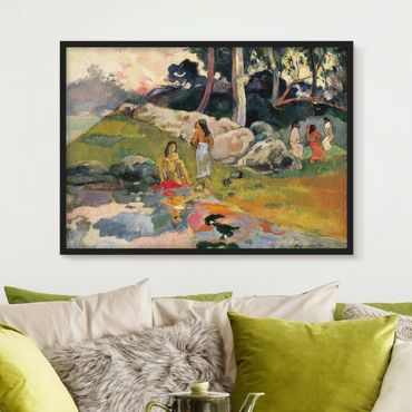 Bild mit Rahmen - Paul Gauguin - Flussufer - Querformat 3:4