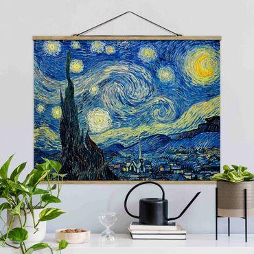 Stoffbild mit Posterleisten - Vincent van Gogh - Sternennacht - Querformat 3:4
