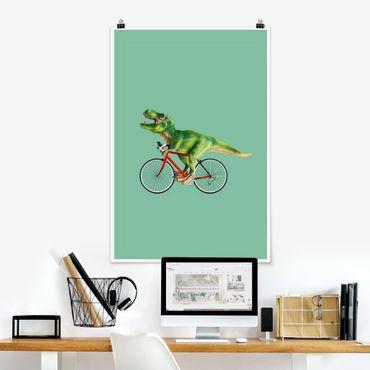 Poster - Jonas Loose - Dinosaurier mit Fahrrad - Hochformat 3:2