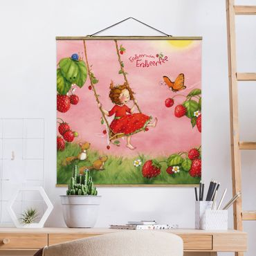 Stoffbild mit Posterleisten - Erdbeerinchen Erdbeerfee - Baumschaukel - Quadrat 1:1