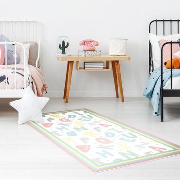 Vinyl-Teppich - Alphabet in Pastellfarben mit Rahmen - Hochformat 1:2