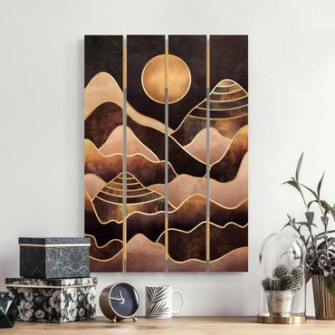 Holzbild - Elisabeth Fredriksson - Goldene Sonne abstrakte Berge - Hochformat 3:2