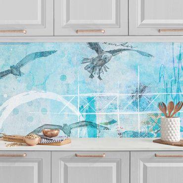 Küchenrückwand - Bunte Collage - Blaue Fische