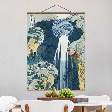 Stoffbild mit Posterleisten - Katsushika Hokusai - Der Wasserfall von Amida - Hochformat 4:3