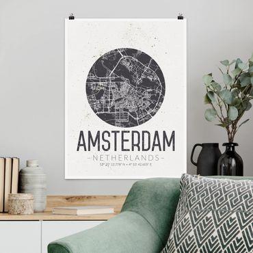 Poster - Stadtplan Amsterdam - Retro - Hochformat 3:4