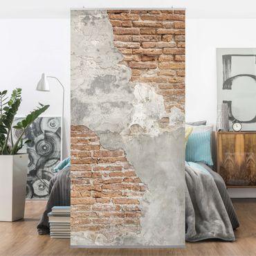 Raumteiler - Shabby Backstein Wand 250x120cm