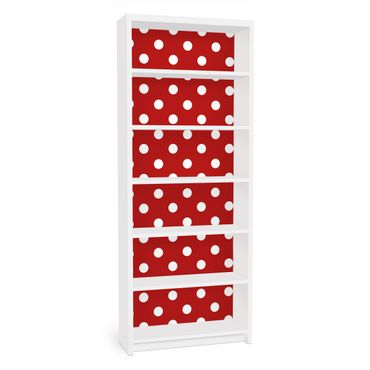 Möbelfolie für IKEA Billy Regal - Klebefolie No.DS92 Punktdesign Girly Rot