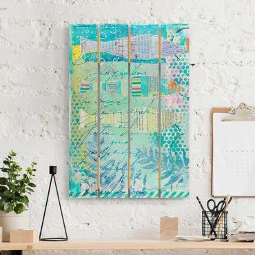 Holzbild - Bunte Collage - Fische und Punkte - Hochformat 3:2