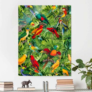 Glasbild - Bunte Collage - Papageien im Dschungel - Hochformat 4:3