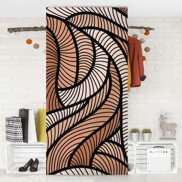 Raumteiler - Holzschnitt in braun 250x120cm