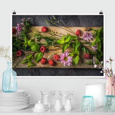 Poster - Blumen Himbeeren Minze - Querformat 2:3