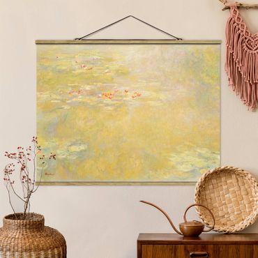 Stoffbild mit Posterleisten - Claude Monet - Seerosenteich - Querformat 4:3