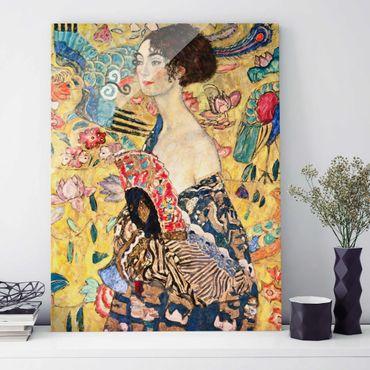 Glasbild - Gustav Klimt - Dame mit Fächer - Hochformat 4:3