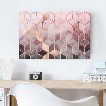 Glasbild - Rosa Grau goldene Geometrie - Querformat 2:3