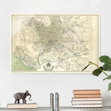 Glasbild - Vintage Stadtplan Rom Antik - Querformat 2:3