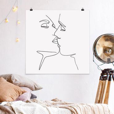 Poster - Line Art Kuss Gesichter Schwarz Weiß - Quadrat 1:1
