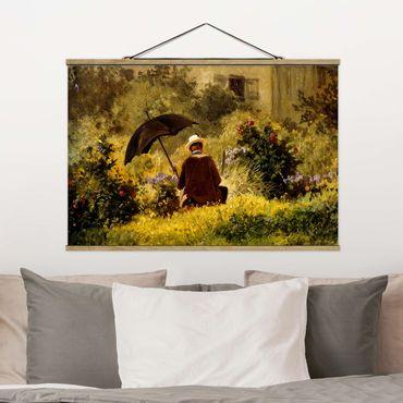 Stoffbild mit Posterleisten - Carl Spitzweg - Der Maler im Garten - Querformat 2:3