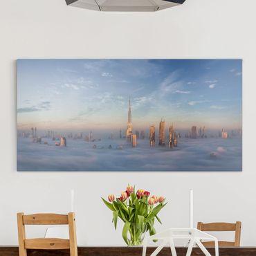 Leinwandbild - Dubai über den Wolken - Querformat 1:2