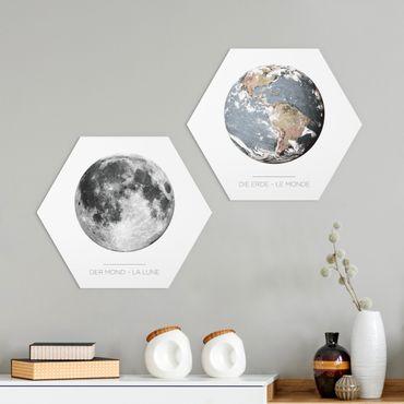 Hexagon Bild Forex 2-teilig - Mond und Erde