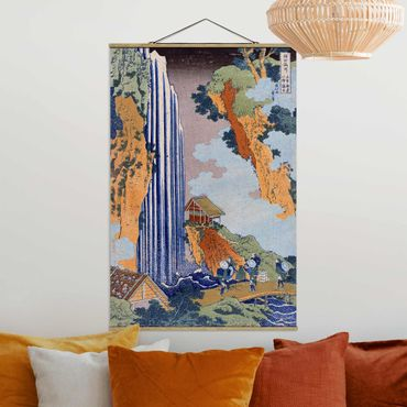 Stoffbild mit Posterleisten - Katsushika Hokusai - Ono Wasserfall - Hochformat 3:2