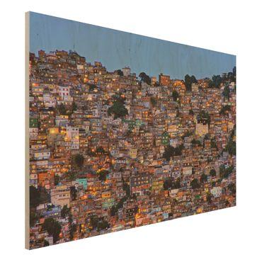 Holzbild - Rio de Janeiro Favela Sonnenuntergang - Querformat 2:3