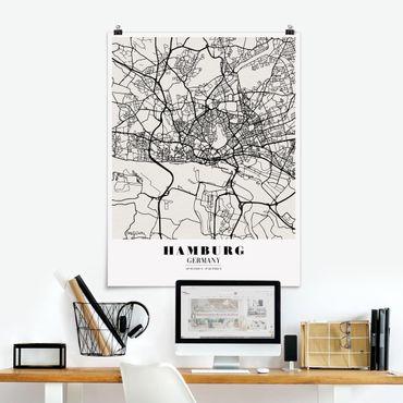 Poster - Stadtplan Hamburg - Klassik - Hochformat 3:4