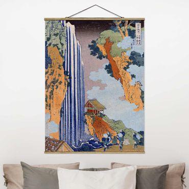 Stoffbild mit Posterleisten - Katsushika Hokusai - Ono Wasserfall - Hochformat 4:3
