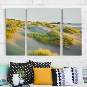Leinwandbild 3-teilig - Dünen und Gräser am Meer - Triptychon