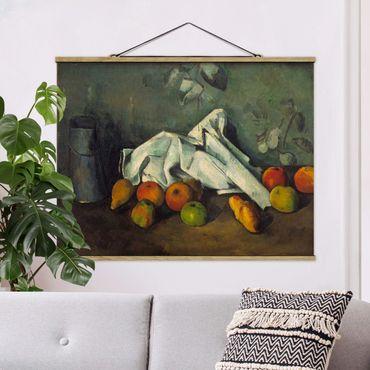 Stoffbild mit Posterleisten - Paul Cézanne - Milchkanne und Äpfel - Querformat 3:4