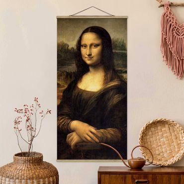 Stoffbild mit Posterleisten - Leonardo da Vinci - Mona Lisa - Hochformat 2:1